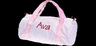 Pink Seersucker<br />  Duffel Bag
